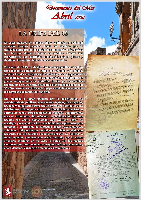 Un edicto para frenar la gripe de 1945, 'Documento del mes'