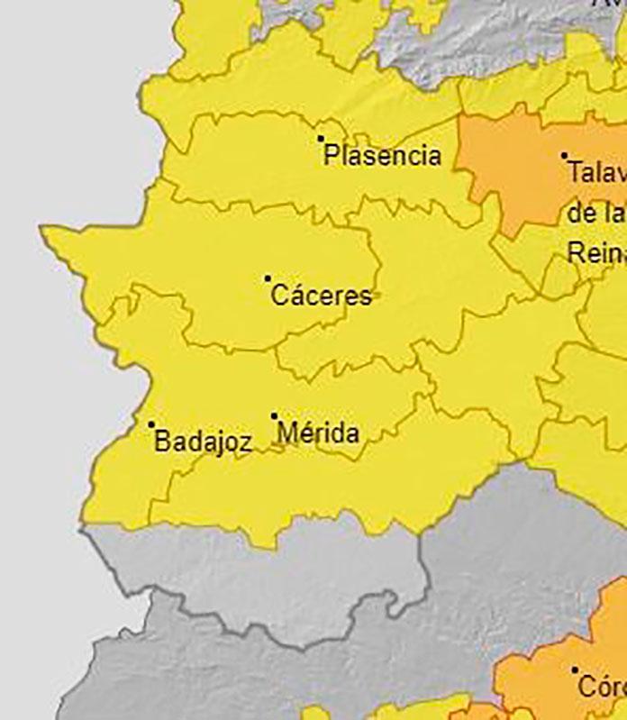 Alerta amarilla por calor en el centro y norte de Extremadura.
