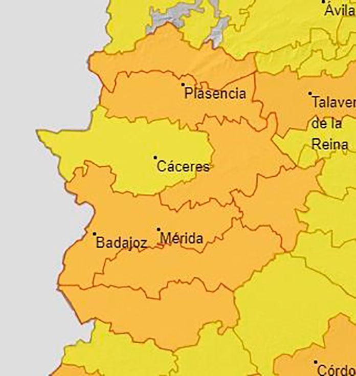 Alerta naranja por altas temperaturas excepto en la Meseta Cacereña