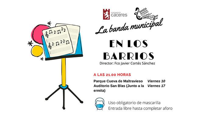 Conciertos en San Blas y en Maltravieso de la Banda Municipal