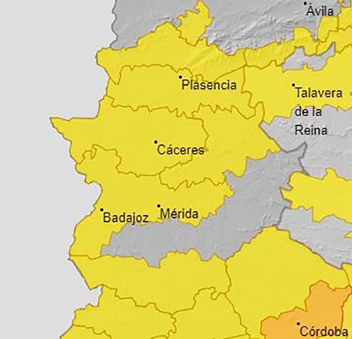 Varias comarcas de Extremadura activan la alerta amarilla por altas temperaturas