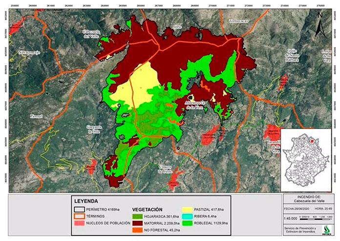 El fuego de El Jerte y La Vera arrasa con 4.169 hectáreas