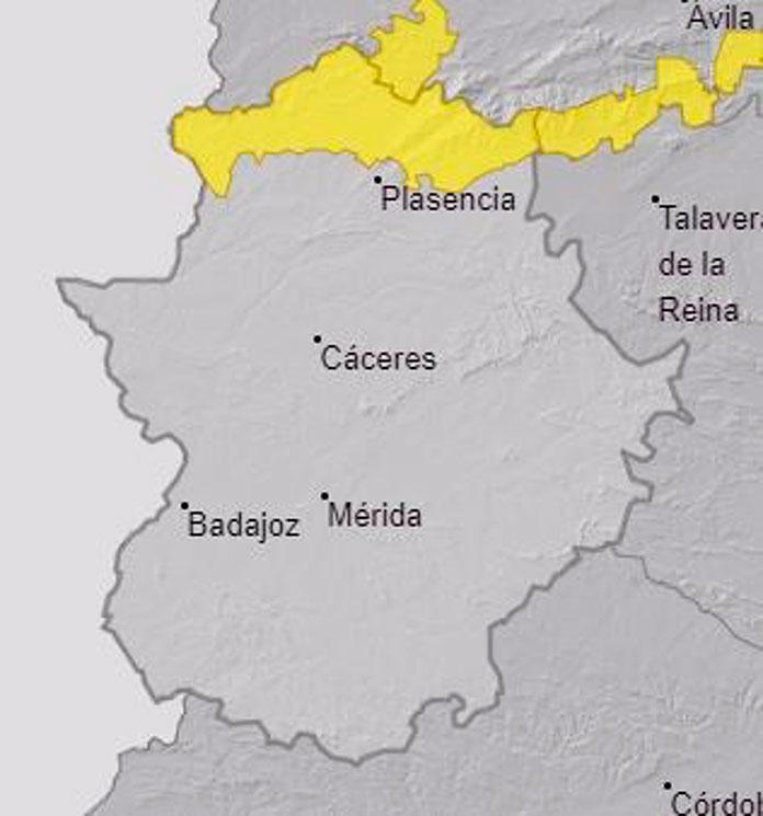 El norte de Cáceres continúa en alerta amarilla por lluvias