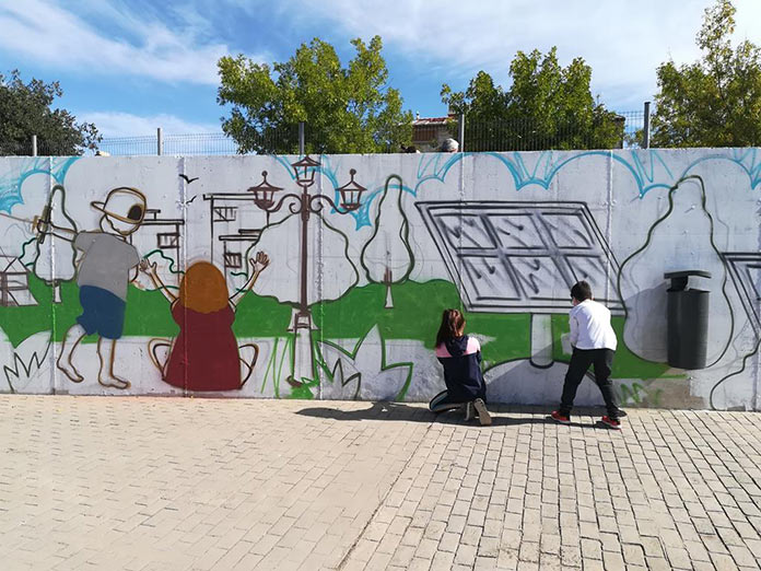 Un nuevo amanecer en Aldea Moret con Murales con Objetivos