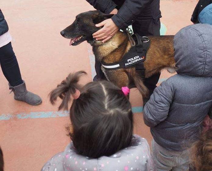 El alumnado del CEIP Lope de Vega conoce la labor de Guías Caninos de la Policía de Badajoz