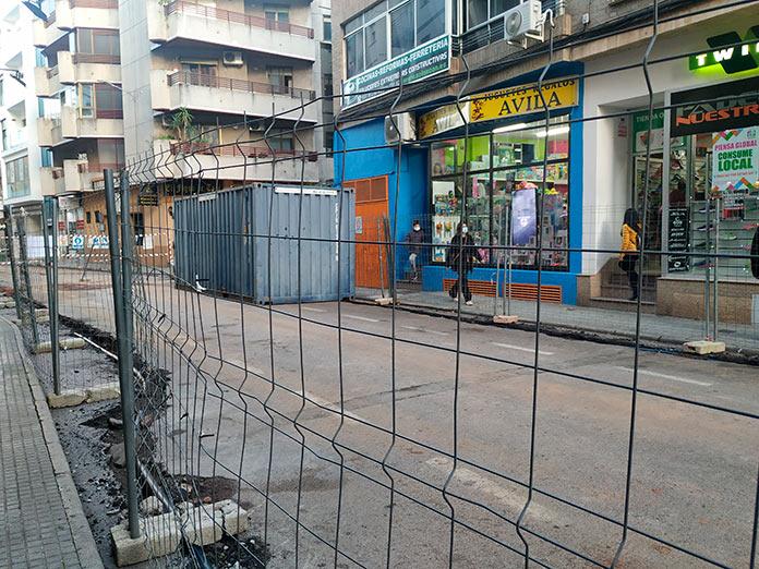 Calle de Cáceres cortada al tráfico