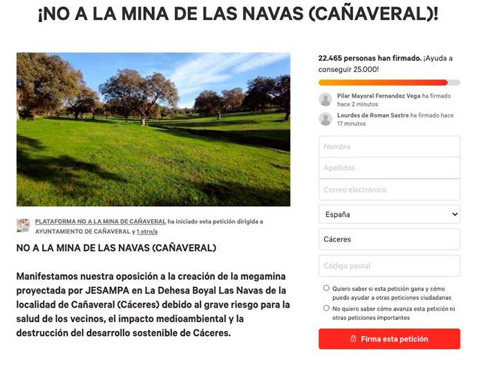 Más de 22.000 personas firman en contra de la mina de Cañaveral