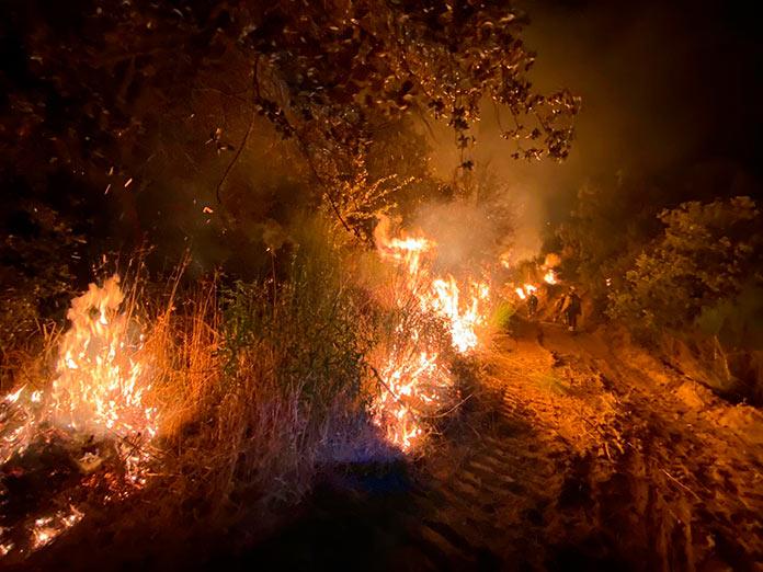 Continúan las labores de extinción en el incendio de Peraleda de San Román