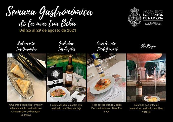Los Santos de Maimona celebrará la Semana Gastronómica de la Uva Eva-Beba